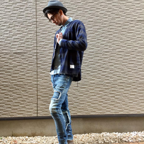 INDIGO CHECK CARDIGAN CRAZZY [NAVY]